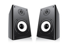 Pair Of Black Loud Speakers Is...
