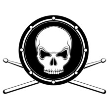 Vector Jolly Roger Drum Skull ...