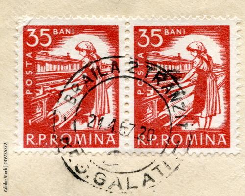 "Valokuva  Vintage romanian postage stamp ""Weawer"""
