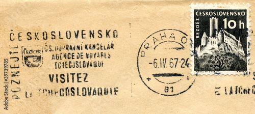 Vintage postage stamp of Czechoslovakia Bezděz Castle Wallpaper Mural