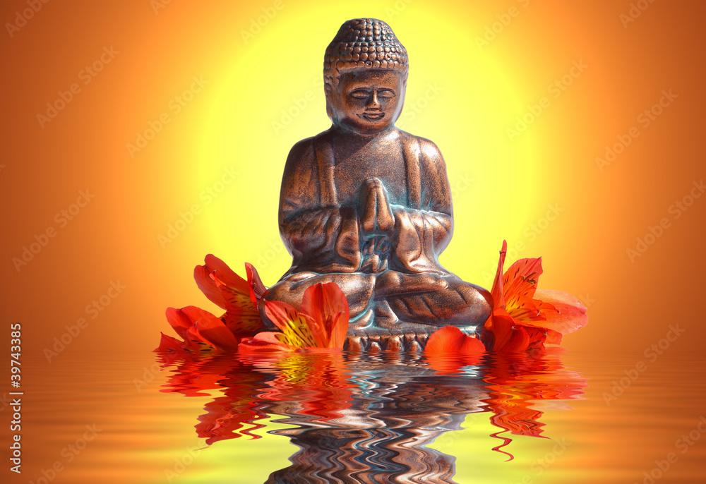 Doppelrollo mit Motiv - Buddha, Sonnenuntergang