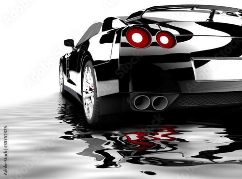 Acrylic Prints Red, black, white Black car reflected