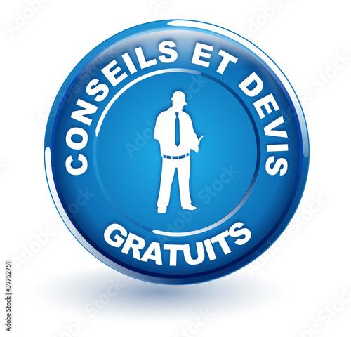Fotografía  conseils et devis gratuits sur bouton bleu