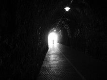 Human Silhouette In Tunnel, Li...