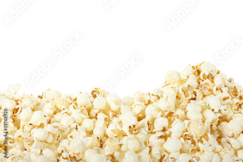 Popcorn on white, clipping path included