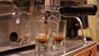 Espresso machine brewing coffee