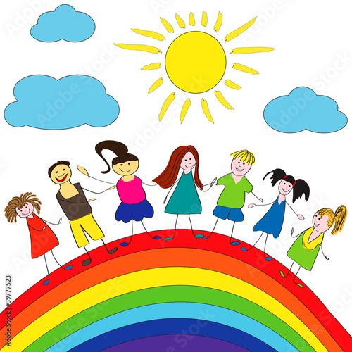 Fotobehang Regenboog Merry children and rainbow, happy life