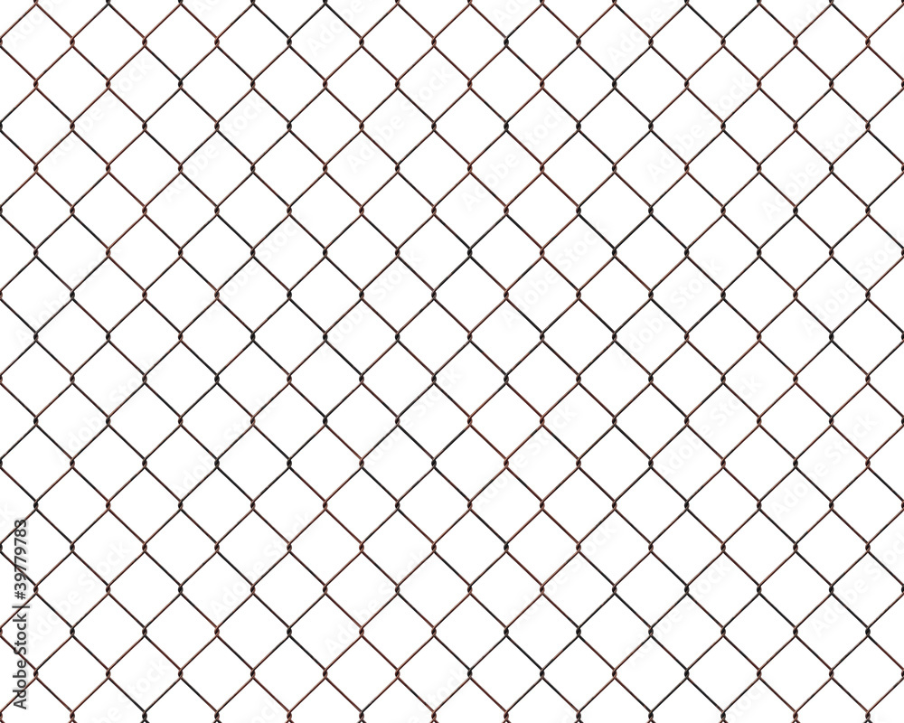 Fototapeta Rusty chainlink fence isolated on white background