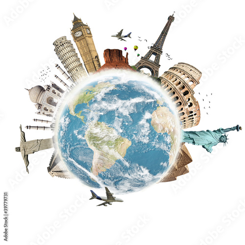 Plakat na zamówienie Travel the world monuments concept 3