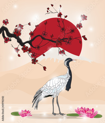 beautiful oriental picture with crane