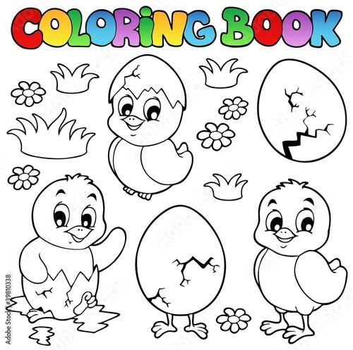 Tuinposter Doe het zelf Coloring book with cute chickens