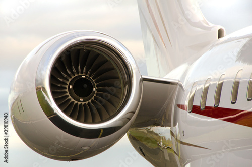 Photo Jet Engine on a Private Plane - Bombardier