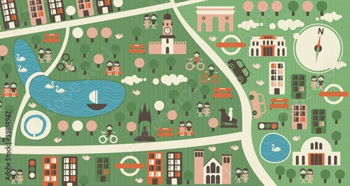 Poster de jardin Route cartoon map of hyde park london