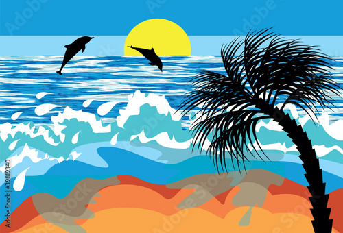Poster Oiseaux, Abeilles seascape with dolphins and palm