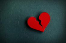 Red Broken Heart Shape, On Textured Blue