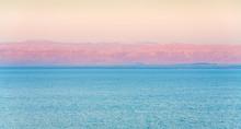 Pink Sunrise On Dead Sea Coast