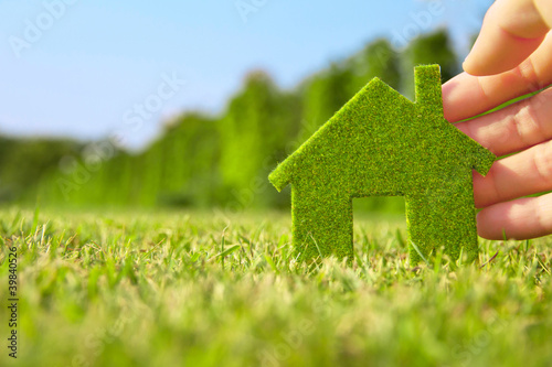 Fotografia  hand holding eco house icon in nature