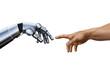canvas print picture - Michelangelo: Creation of Adam. Robot Hand.