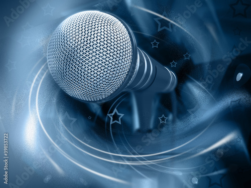 Photo  Microphone on abstract background