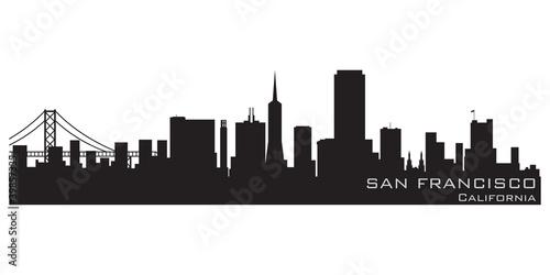 Photo  San Francisco, California skyline. Detailed vector silhouette