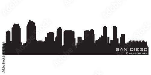 Fototapety, obrazy: San Diego, California skyline. Detailed vector silhouette