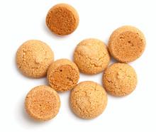 Traditional Italian Almond Cookies - Amaretti, Isolated On White