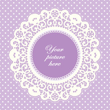 Vintage Lace Doily Frame, Pastel Lavender Polka Dot Background