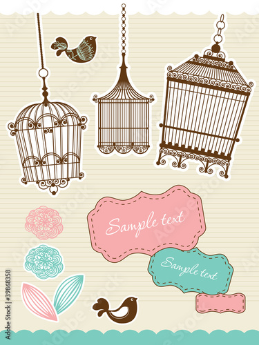Poster Birds in cages scrapbook elements with vintage birdcage