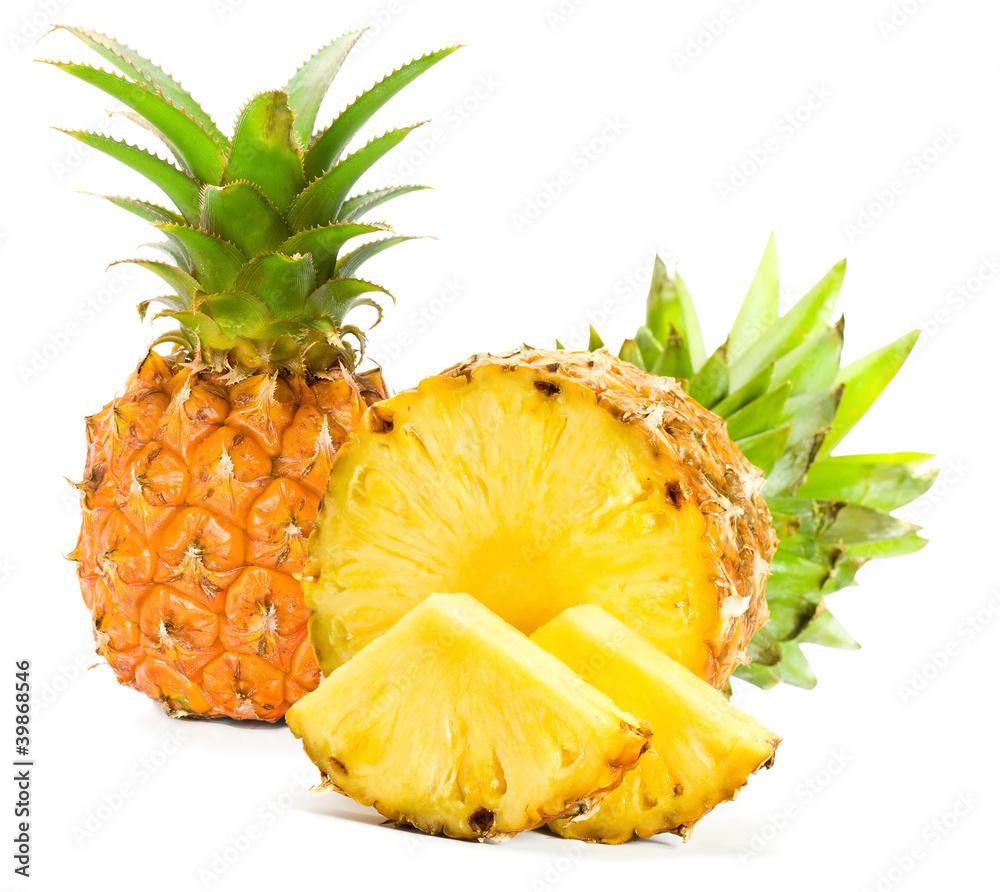 Fototapeta Fresh slice pineapple on white background