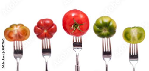 Printed kitchen splashbacks Fresh vegetables Fünf Tomaten mit Gabel