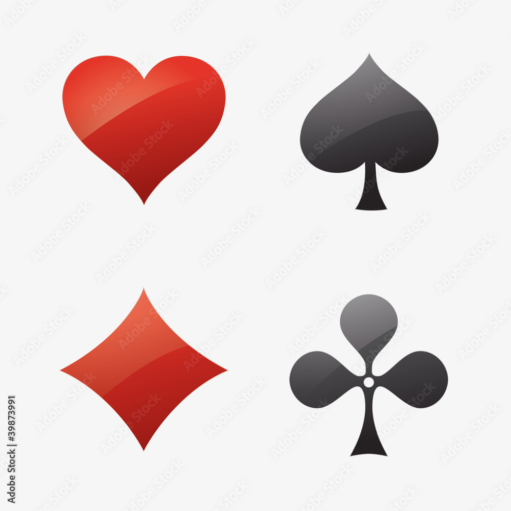 Icon Ass Kreut Karo Pik Poker Mau Mau Karten Spiel Casino Herz Stock Gamesageddon