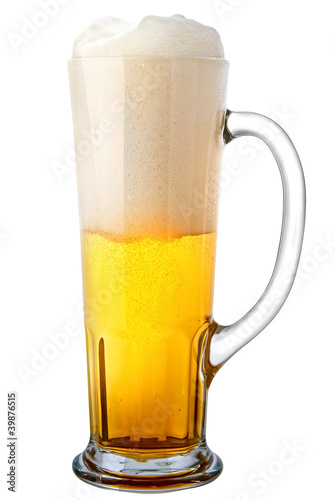 Door stickers Beer / Cider glass of light beer isolated on a white background