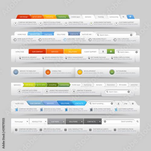 Fotografía  web site design template navigation elements with icons set