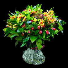 Bouquet Of Red And Yellow Alst...