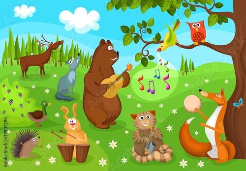 Wall Murals Bears forest concert