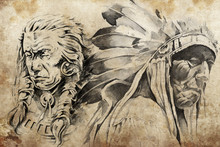 Tattoo Sketch Of American Indi...