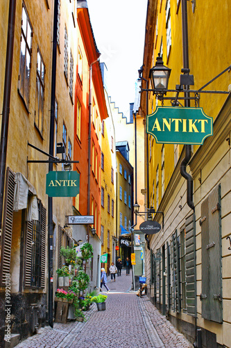 Photo  The street of The Old Town (Gamla Stan) in Stockholm