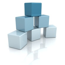Blue Building Blocks Or Cubes On White Background