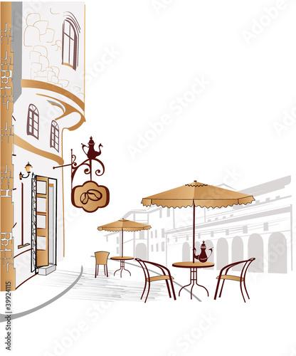 Foto auf AluDibond Gezeichnet Straßenkaffee Street cafe in the city