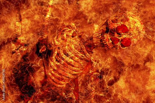 Fire skeleton Fototapete