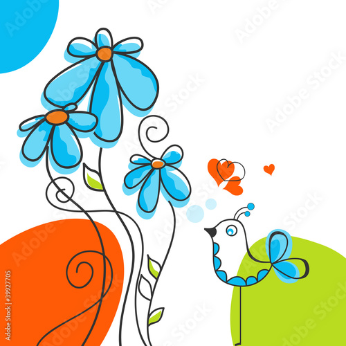 Deurstickers Abstract bloemen Bird and flowers love story