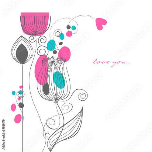 Tuinposter Abstract bloemen Vector flowers love message