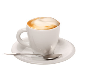 Panel Szklany Do kawiarni Cappuccino su sfondo bianco