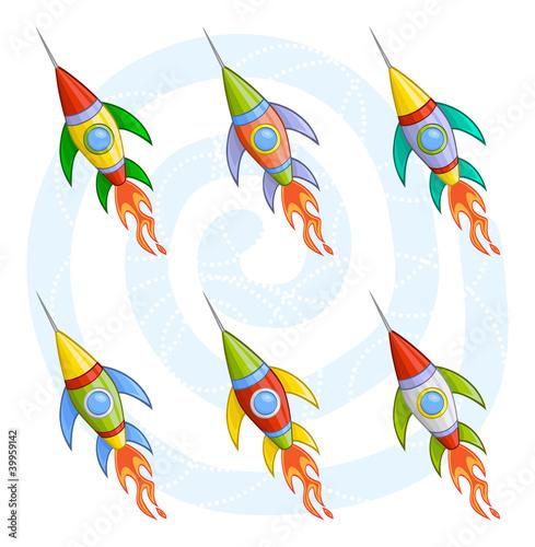 Foto op Aluminium Kosmos Cartoon rockets