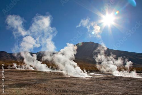Geyser field El Tatio in Atacama region, Chile Fototapet