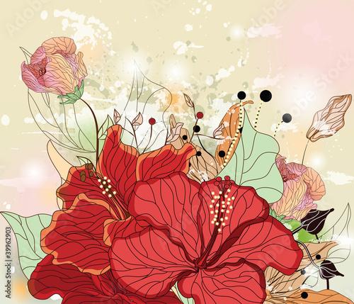 Tematy obrazów sklad-grunge-z-kwiatami-hibiskusa