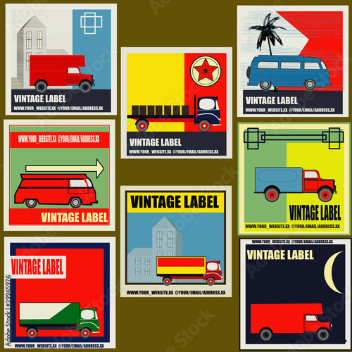 Photo  Set of retro Van and Lorry vintage labels