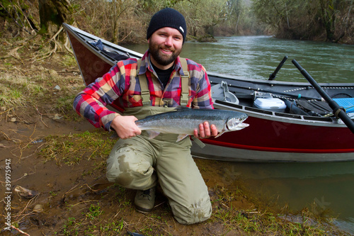 Fotografie, Obraz  Steelhead Fisherman