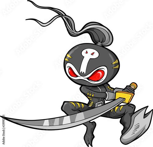 Photo  Ninja Warrior Vector Illustration