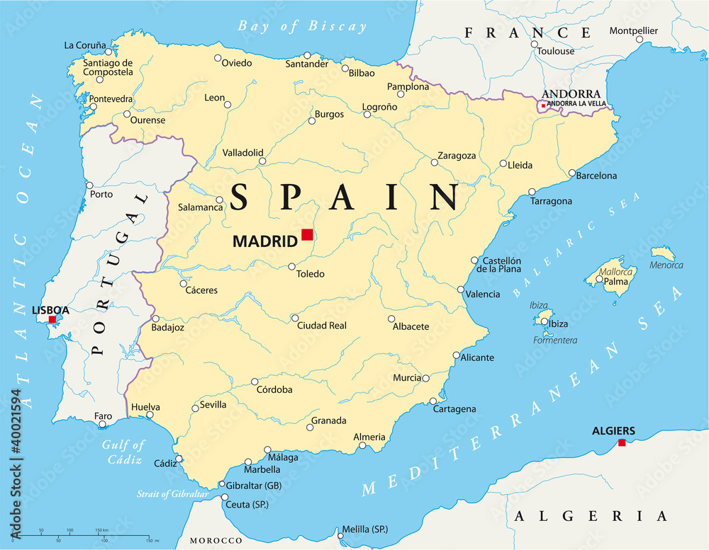 Map Of Spain For Printing.Photo Art Print Spain Political Map With The Capital Madrid